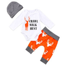New 3Pcs Newborn Baby Boys Girls Christmas Clothes CRAWL WALK HUNT Romper+Deer Pants+Hats Caps Xmas Elk Outfits Toddler Baby Set new 3pcs newborn baby boys girls christmas clothes crawl walk hunt romper deer pants hats caps xmas elk outfits toddler baby set