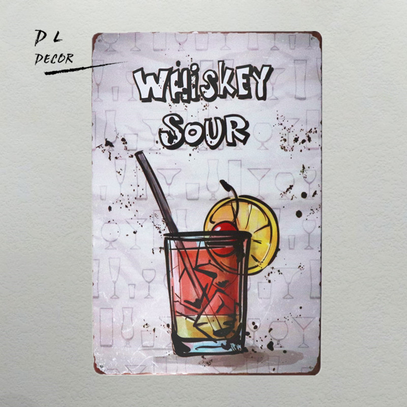 DL- Retro Whishey Sour Metal poster cocktail Wall Plaque Coffee Bar Pub Beer Club Wall art Decor image