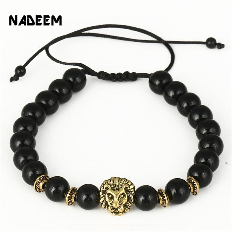 Drop Shipping Antique Gold-Color Lion Head Charm Bracelet Men Black Onyx Stone Bead Animal Macrame Braided Weave Bracelet ...
