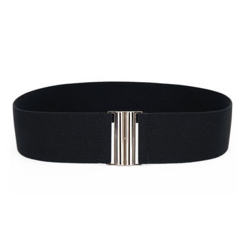 Silver Buckle Wide Stretch Belt