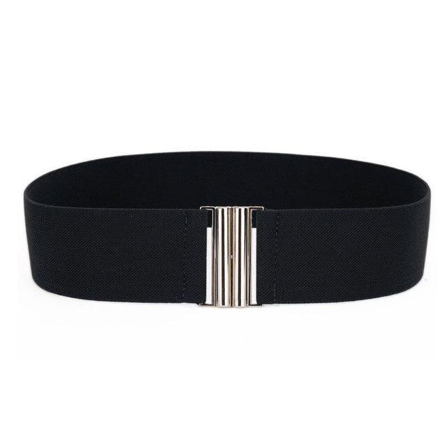 Silver Buckle Wide Stretch Belt