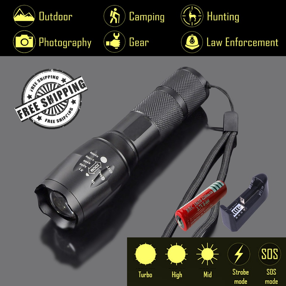 Explorer-BA 3800Lm CREE XML T6 Powerful LED Flashlight,5 Tactical Modes Flashlight,Torch light 18650 Battery,Military flashlight high lumen led flashlight 4 2v cree xml t6 2 18650 battery 5 modes focalize flash lamp 2 18650 batteries battery charger