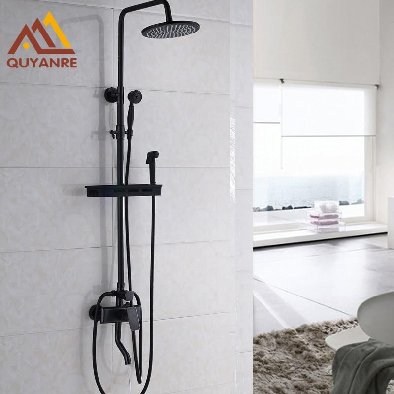 Black Luxury Bath Shower Faucet Set + Swivel Tub Mixers + Handshower+Shelf Wall Mounted One Handle  ouboni brand new arrival high quality chrome water shower faucet set bath tub shower mixers with handshower 8 rain showerhead