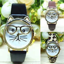 Fashion Unisex New Wristwatches Women's Men's Cute Glasses Cat Case Faux Leather Analog Quartz Bracelet Wrist Watch 5DF8 6XXH