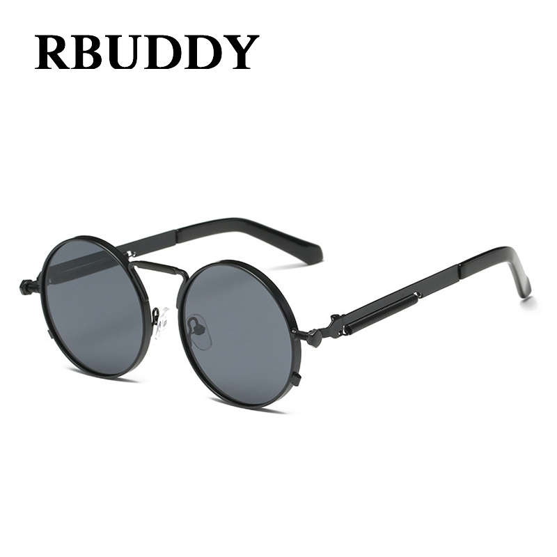 6dae20398069cd RBUDDY Classique Vintage Steampunk Petites lunettes de Soleil Rondes Or  Métal Cadre Hommes Femmes Marque Design De Mode Gothique Lunettes de Soleil  UV400 ...