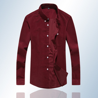 Brand 100 Cotton Corduroy Mens Dress Shirts Solid Color Long Sleeve Vintage Flannel Casual Shirt Men