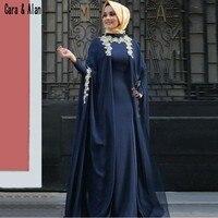 Generous Long Sleeves Arabic Muslim Evening Dresses with Hijab Applique Zipper Back Abaya Vestidos Moroccan Kaftan
