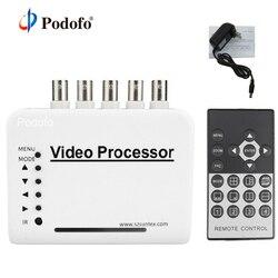 Podofo 4 Canali CCTV Video A Colori Quad Splitter Switcher Processore Della Macchina Fotografica Kit di Sistema con Telecomando 5 BNC Adattatore