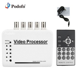 Podofo 4 Channel CCTV Color Video Quad Splitter Switcher Camera Processor System Kit with Remote Control 5 BNC Adapter