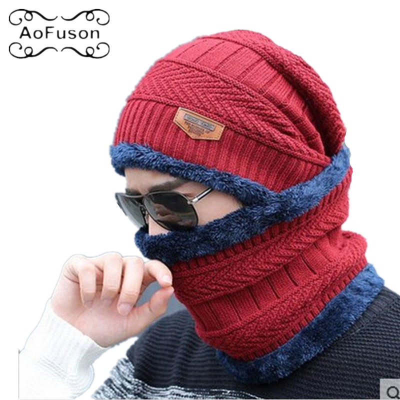 Winter Mask Neck Warmer Cap Knitted Skiing Bibs Hat Snow Sport Snowmobile Men Ladies Beanie Skullies Beanies Thicken Scarf Mask