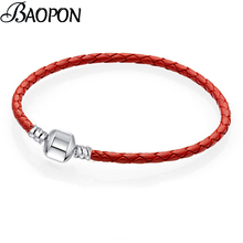 BAOPON Authentic 8 Colors 16cm-21cm Leather Chain Charm Bracelets Fits Original DIY Fine Bracelets For Women Jewelry Gift cheap Zinc Alloy Fashion Cute Romantic Metal Snake Chain All Compatible ROUND Mood Tracker BR1598 Tension Setting Hidden-safety-clasp