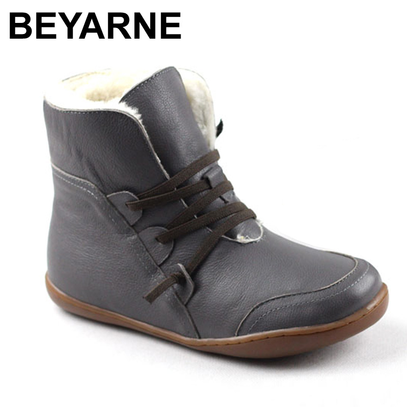BEYARNE Women's Boots Winter Shoes Wool Genuine Leather Shoes Round toe Lace up Ladies Ankle Boots Female Footwear (K10) women ankle boots 2016 round toe autumn shoes booties lace up black and white ladies short 2017 flat fashion female new chinese