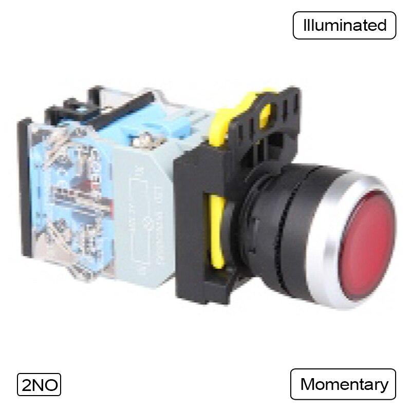 5 PCS Push button switch LED Momentary Waterproof IP65  1NO 1NC 2NO 2NC  LA115-B5-11D-R31 5 pin dpst 2 phase 2 button momentary waterproof electromagnetic switch 230vac