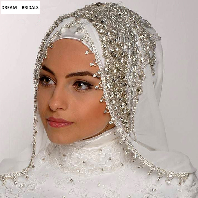 Custom Made Muslim Veils Hijab Luxury Beads Crystal Bridal Veils One Layer Handy Made Wedding Accessories Velos De Novia