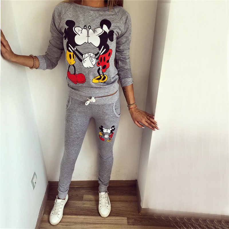 Herfst Winter vrouwen dames lange mouwen KUS mickey & Minnie Print Sweatshirts Sets trui fleece Trainingspakken kleding