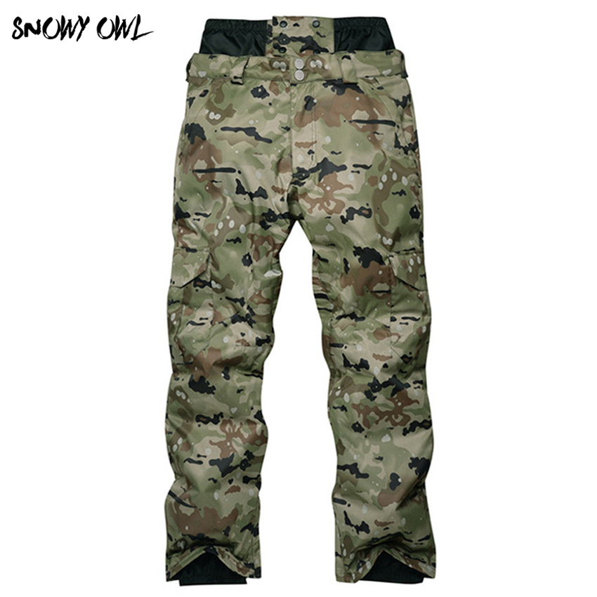 Camouflage Ski Pant Men High Waist Waterproof Snowboard Pant Ski Trousers Thermal Breathable Outdoor Snow Pants Male h140 цена 2017