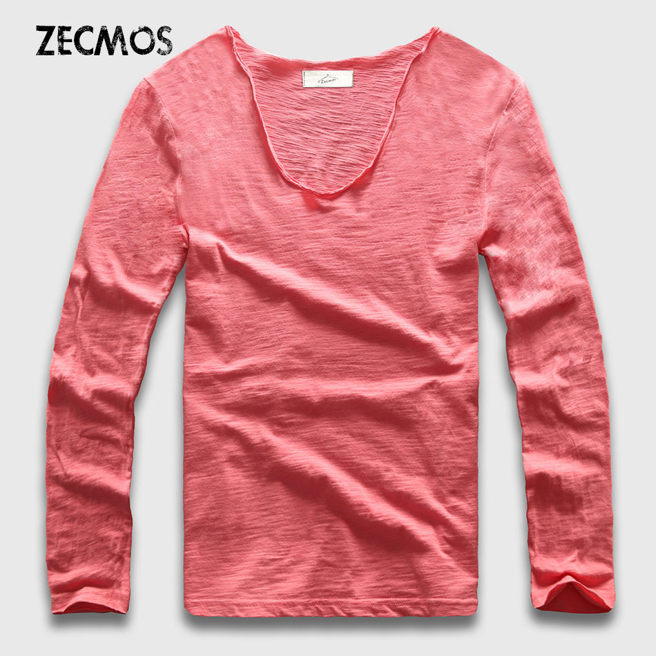 20 Colors V Neck Long Sleeve T Shirt Men Cotton T-Shirt Male Slim Fit Top Tees