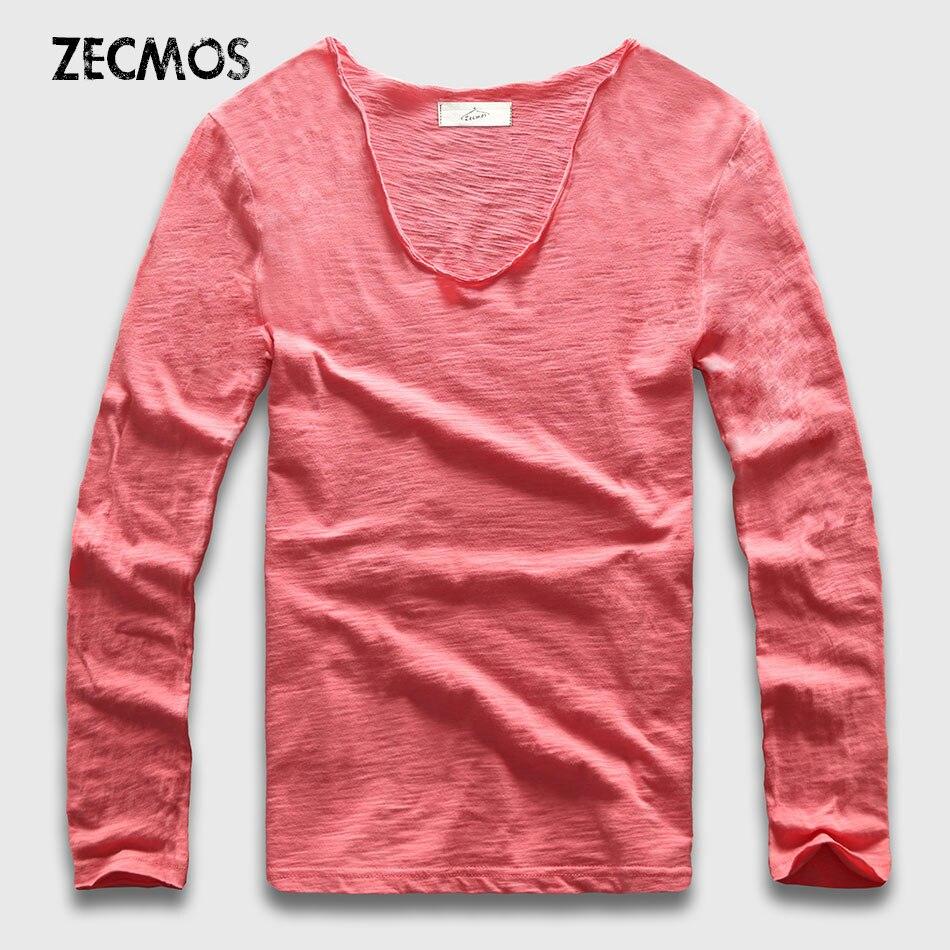 20 Colors V Neck Long Sleeve T Shirt Men Cotton T-Ss