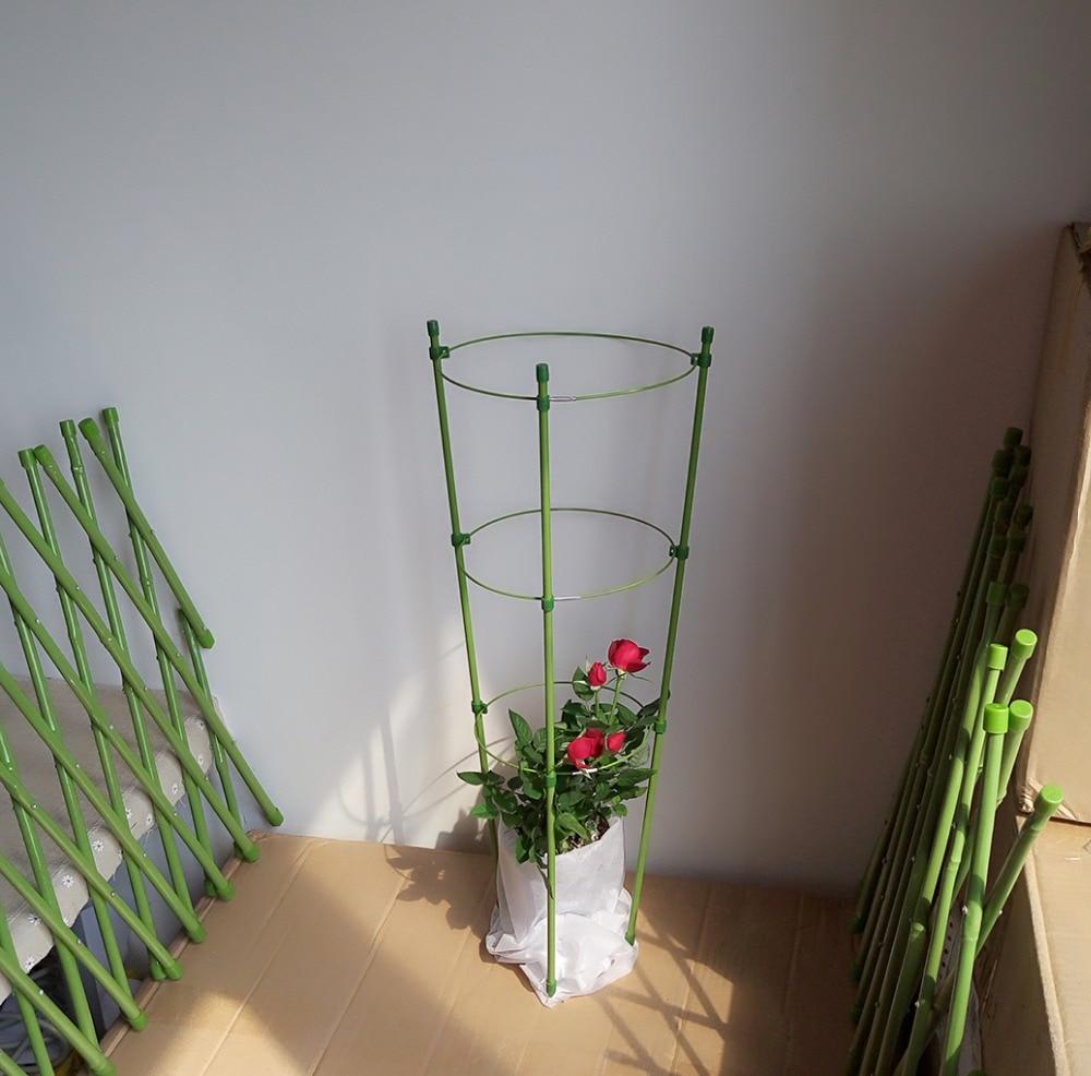 12pcs/lot 45cm PVC Coated Waterproof Garden Planter Green Folding Garden Trellis Plant Flower Supporter Garden Decoration
