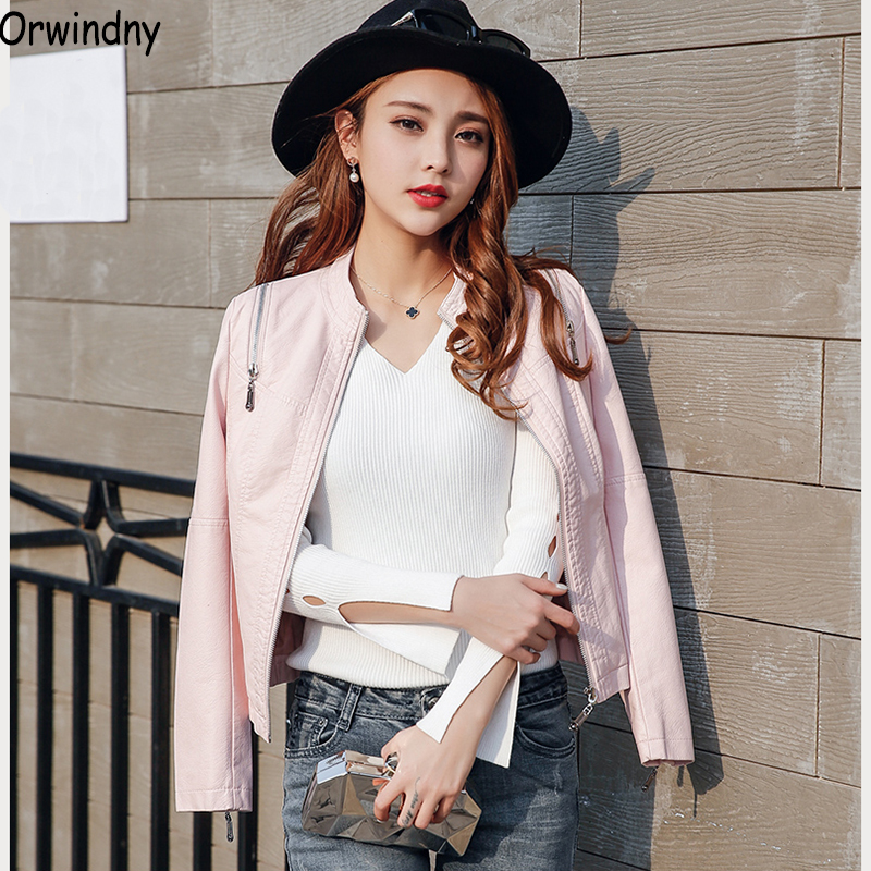 Orwindny 2019 Spring Autumn Women Faux Soft   Leather   Jacket Pink Biker Coat Zipper Design Motorcycle Jacket Clothing S-2XL   Suede