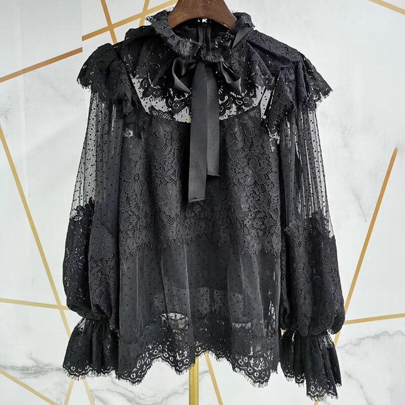 [LIVIVIO] dentelle Floral à pois à volants longue lanterne manches Stand cou pure Blouse femmes chemise Vintage 2019 automne nouvelle mode - 6
