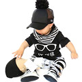Fashion 2016 Newly Arrived Baby Boy Clothes Glasses Stripe Short Sleeve T-Shirt Trousers Baby Boys Clothes Set