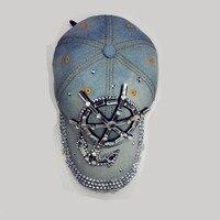 2016D55 cotton bling bling Rhinestone man made diamond anchor hat baseball caps for women