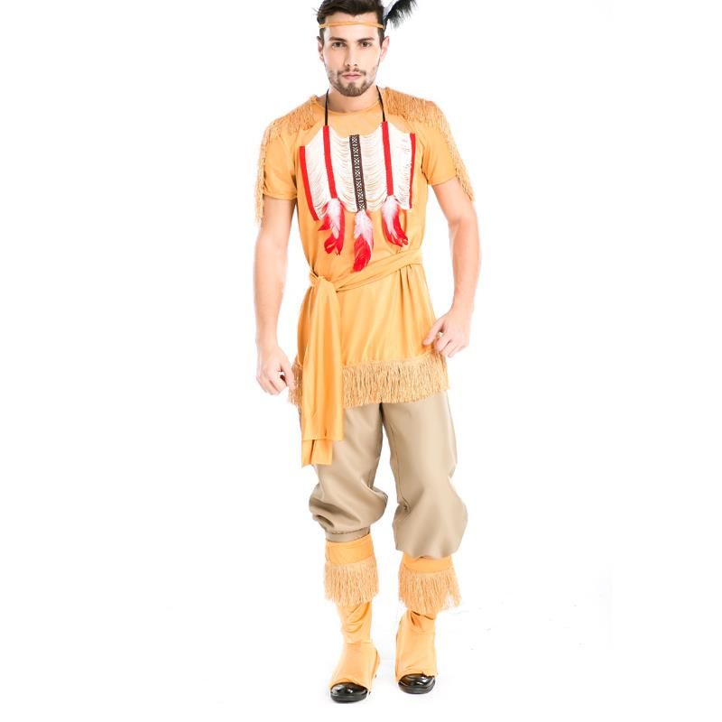 New Design Cool Adults Men Indian Hunter Archers Role play Uniform Fantasy Cosplay wear Compelling Halloween Costumes A155806