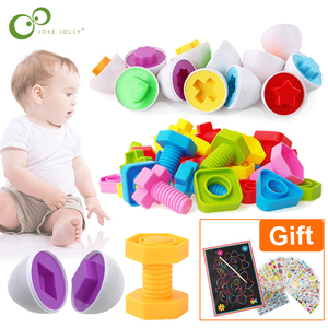 11Pcs Montessori Learning Education Math Toys Smart Eggs / Plastic Screws 3D Puzzle Game For Baby Children Educational Toys GYH(China)