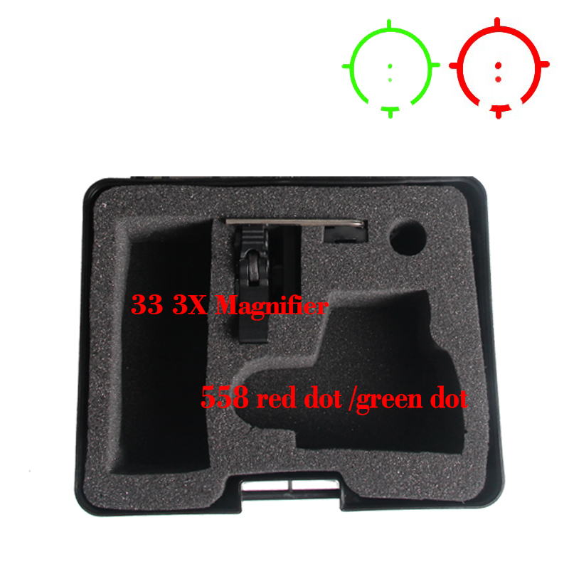 <font><b>558</b></font>+33 3x Magnifier Scope Sight Kit Holographic Sight <font><b>Red</b></font> <font><b>Dot</b></font> Green <font><b>Dot</b></font> Scope image