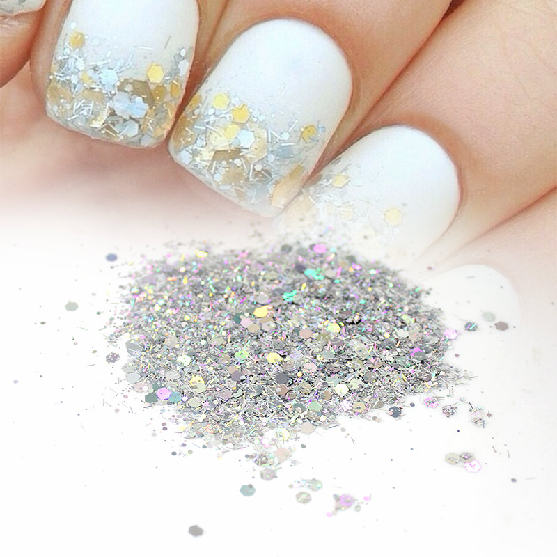 20G 3Colors AB / golden / silver Mix Nail Glitter Powder Hexagon Lentejuelas en polvo para la decoración de arte de uñas
