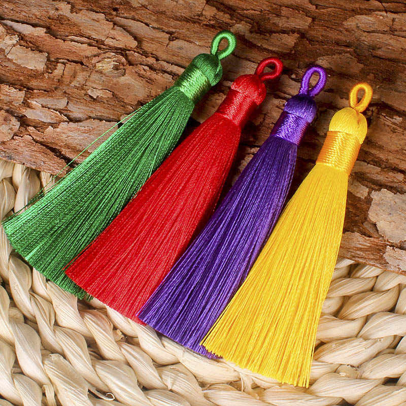 5pcs 8cm Colorful Cotton Silk Tassel Brush for Earring Charm Making Sati Tassels Pendant Diy Jewelry Findings Handmade Crafts