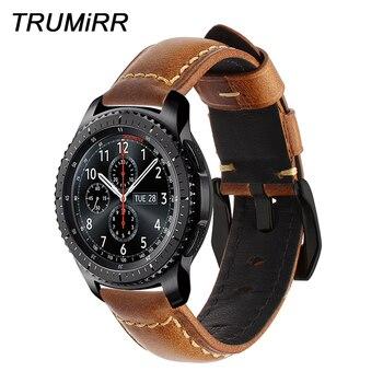 Prawdziwy wosk z oliwek skóra Watchband 22mm pasek do Samsung biegów S3 klasyczne Frontier R760 R770 pasek do zegarka pasa bransoletka brązowy