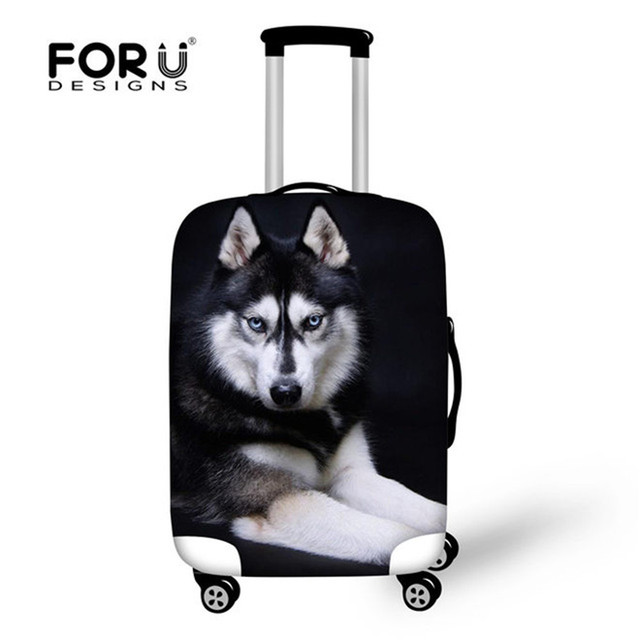 8fa1716e6aef US $15.24 39% OFF|FORUDESIGNS Husky Printed Protective Covers for Suitcase  3D Travel Luggage Cover Elastic Stretch to 18'' 30'' Case Covers New-in ...