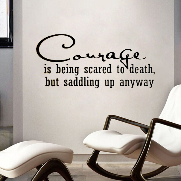 Inspiration Quote Courage Horse Bull Rider Western Decoration Wall