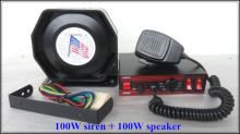 High quality DC12V 100W Police siren alarm warning amplifiers with remote + 100W speaker/horn