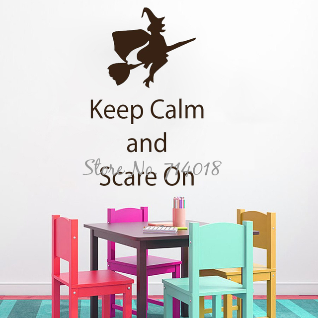 Halloween Wall Decals Witch On Broom Quote Keep Calm And Scare On Vinyl Wall  Sticker Playroom