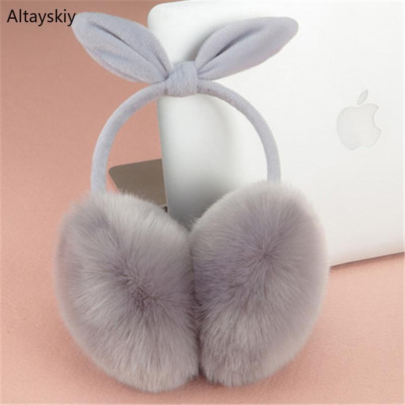Earmuffs Women Winter Faux Rabbit Fur Antifreeze Trendy Solid Simple All-match Ear Warmers Cotton Plush Bow Korean Style 2019