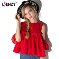 LIEENZY Red Women Blouse O Neck Sleeveless falbala Sleeve Lovely Womens' Elegant Blouse For 2016 Spring And Summer Clothes