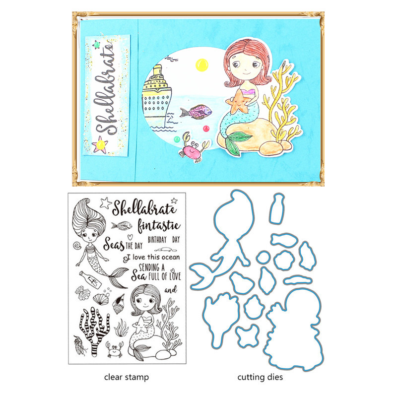 Hot Sale Mermaid stamps and dies Rubber Silicone Stamp with Metal ...