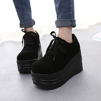 women platform sneakers 2019 suede spring new hick bottom all black round head high heel causal shoes zapatos de mujer