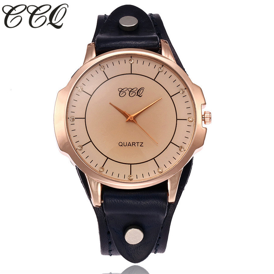 CCQ Brand Vintage Cow Leather Bracelet Watch Unisex Women Men Simple Casual Leather Quartz Wristwatches Clock Relogio Feminino ccq brand fashion vintage cow leather bracelet roma watch women wristwatch casual luxury quartz watch relogio feminino gift 1810