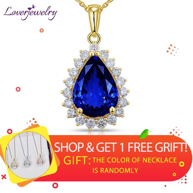 Pendants For Women Top Sale Elegant AAA Tanzanite Pendant 14K Yellow Gold Natural Diamond Tanzanite Wedding Pendant Pear 8x12mm