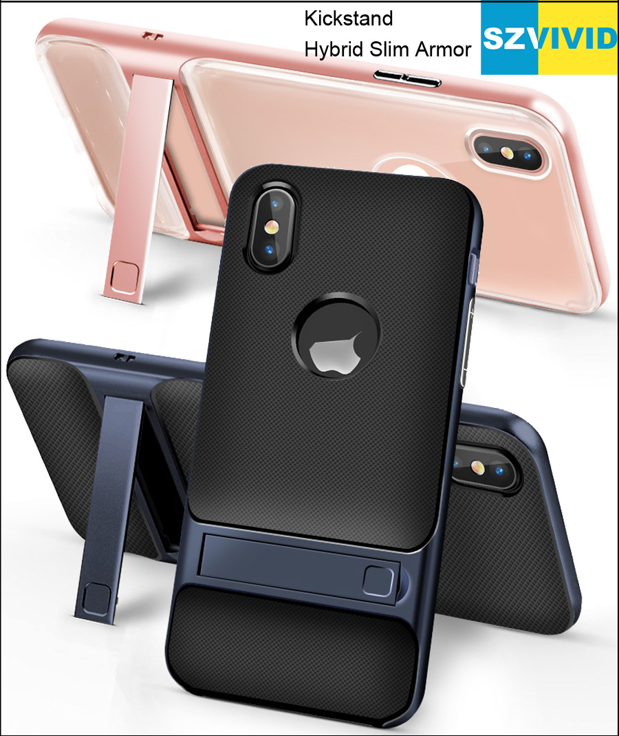 Stand Holder Kickstand Case For iPhone X Hybrid Slim Armor Protector Cover