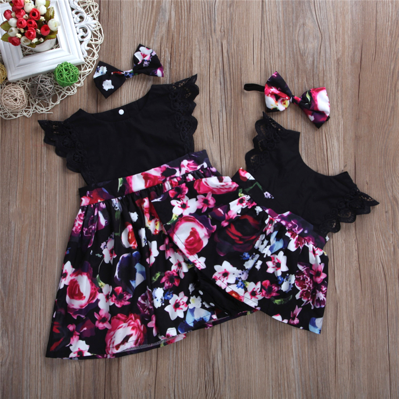 Matching Sister Costumes 2018 Summer Newborn Baby Little Sister Romper Dress Big Sister Dress Fashion Flower Dress+Headband 2pcs