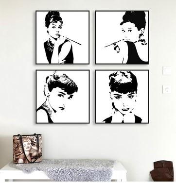 Minimalistischen Schwarz Weiß Audrey Hepburn Poster Drucke Film