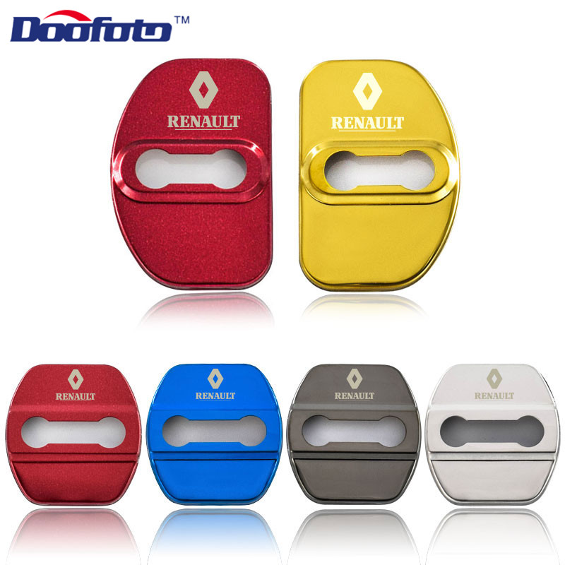 Doofoto Car Styling Door Lock Covers Fit For Renault Megane 2 3 Captur Fluence Latitude Clio Auto Emblems Badge Accessories 4pcs