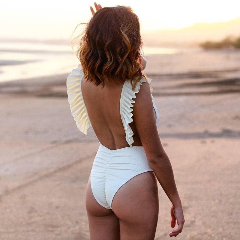 2019 New Sexy One Piece Swimsuit Women Swimwear Push Up Bathing Suit Ruffle Monokini Female Bodysuit Summer Beach Wear Swim Suit