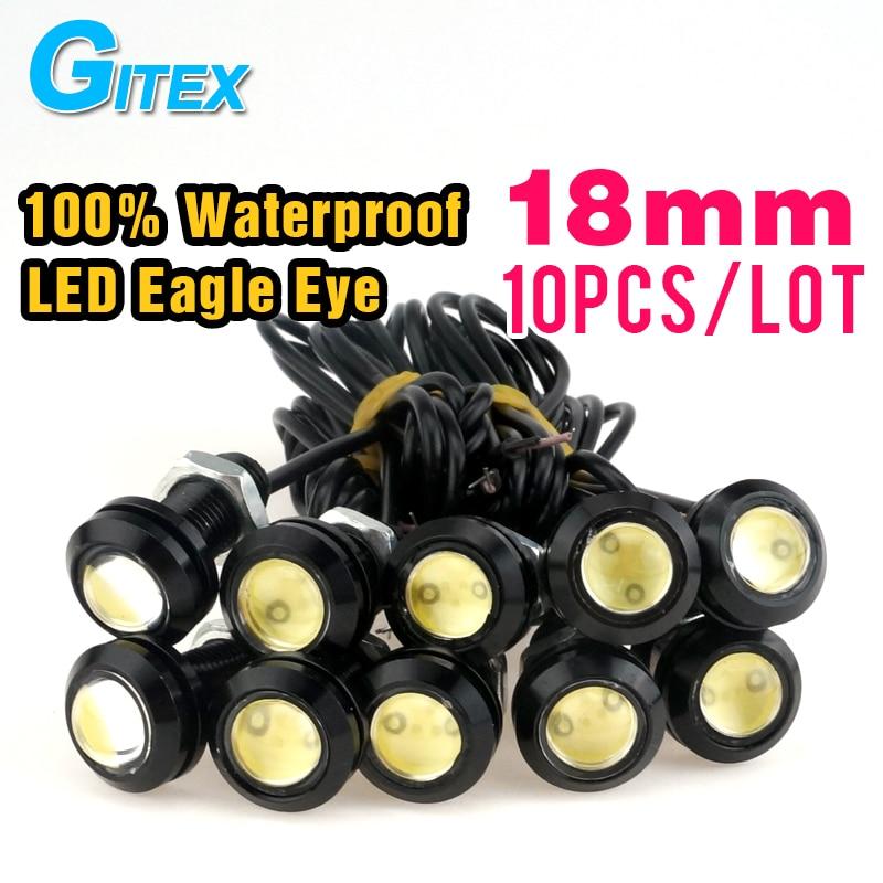 Prix pour Livraison gratuite Super Lumineux 10 pcs/lot 18mm Eagle Eye LED Feux de jour Feux de Stationnement Lampe led DRL Étanche brouillard lumière