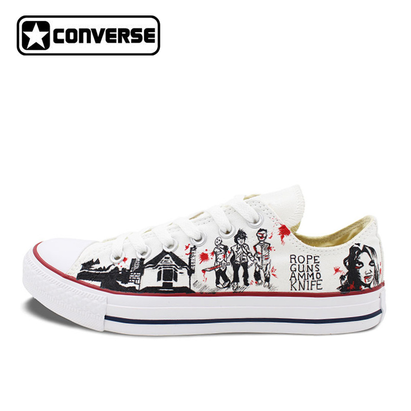 2017 Low Top Converse All Star Men Women's Shoes Custom Design Walking Dead Hand Painted Canvas Sneakers Skateboarding Shoes pokemon go caterpie boys girls converse all star man woman shoes custom hand painted high top canvas sneaker men women